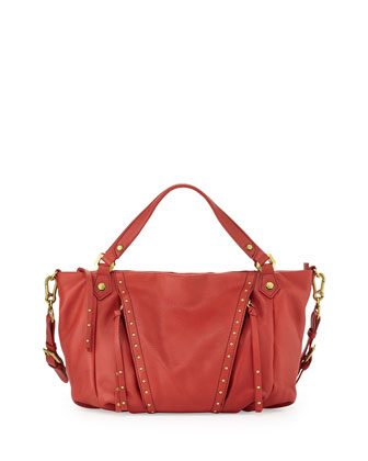 Candice Studded Leather Satchel, Crimson