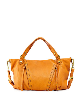 Candice Studded Leather Satchel, Pumpkin