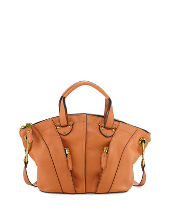 Jennah Paneled Zip Leather Satchel, Saddle