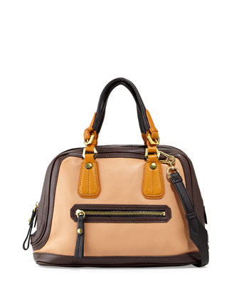 Kendall Tonal Leather Satchel Bag, Nude Multi