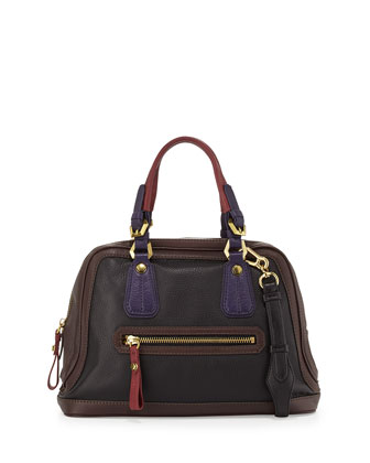 Kendall Tonal Leather Satchel Bag, Black Multi