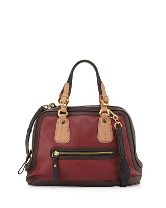 Kendall Tonal Leather Satchel Bag, Cabernet Multi