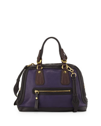 Kendall Tonal Leather Satchel Bag, Purple Multi