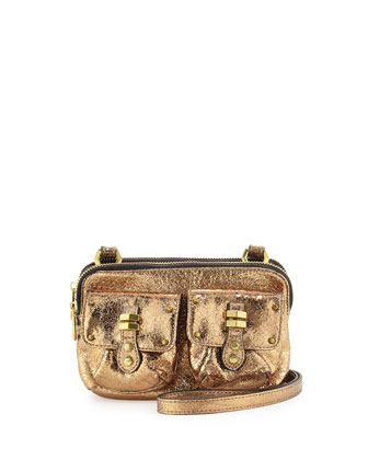 Monica Metallic Leather Crossbody Bag, Gold
