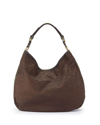 Noelle Glitter/Leather Hobo Bag, Bronze