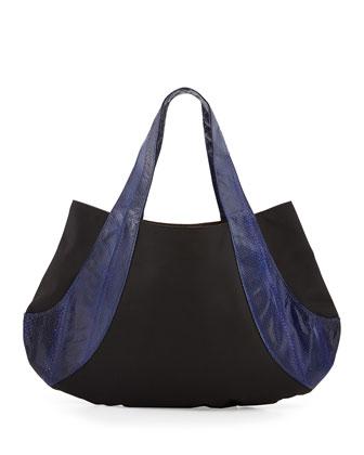 Caroline Snakeskin Contrast Shoulder Bag, Black/Cobalt