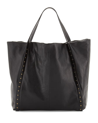 Stud-Trimmed Slouchy Tote Bag, Black