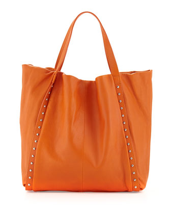 Stud-Trimmed Slouchy Italian Leather Tote Bag, Bright Orange