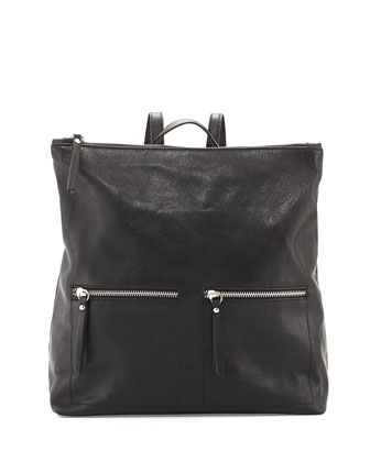Slouchy Tumbled Italian Leather Backpack, Black