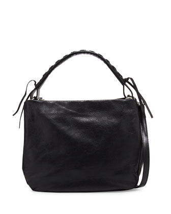 Italian Leather Convertible Hobo Bag, Black