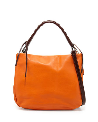 Italian Leather Convertible Hobo Bag, Orange/Dark Brown