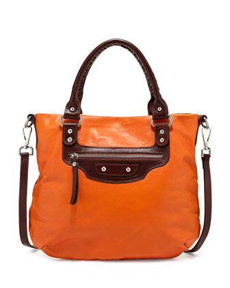 Italian Leather Zip Crossbody Bag, Orange/Dark Brown