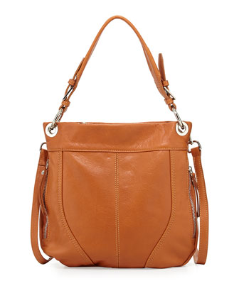 Side-Zip Italian Leather Crossbody Bag, Camel