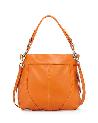 Side-Zip Italian Leather Crossbody Bag, Bright Orange