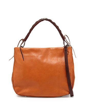 Italian Leather Convertible Hobo Bag, Camel/Dark Brown