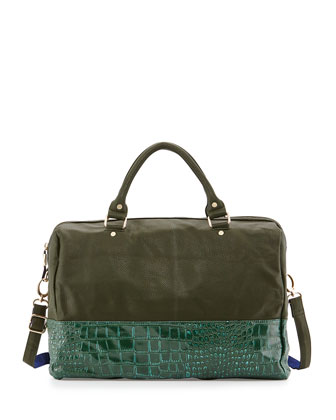 Essex Faux-Leather Snake-Print Weekender Bag, Hunter