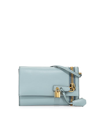 Alix Small Zip & Padlock Crossbody Bag, Light Blue