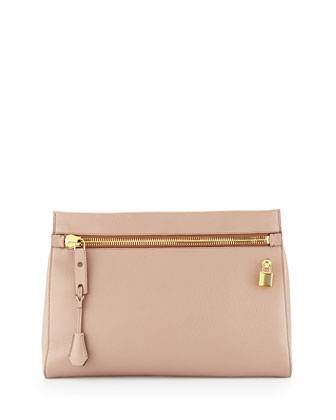 Alix Small Zip & Padlock Clutch Bag, Nude