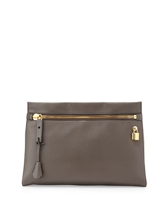 Alix Small Zip & Padlock Clutch Bag, Dark Gray