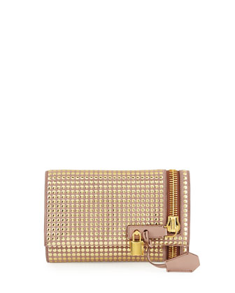 Alix Small Studded Zip & Padlock Crossbody Bag, Nude/Gold