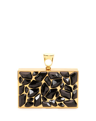 Crystal Brass Ring Clutch Bag, Black