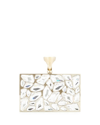 Crystal Brass Ring Clutch Bag, Clear
