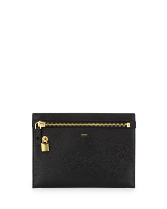 Large Calfskin Zip Clutch Bag, Black