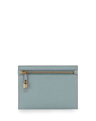 Large Calfskin Zip Clutch Bag, Light Blue