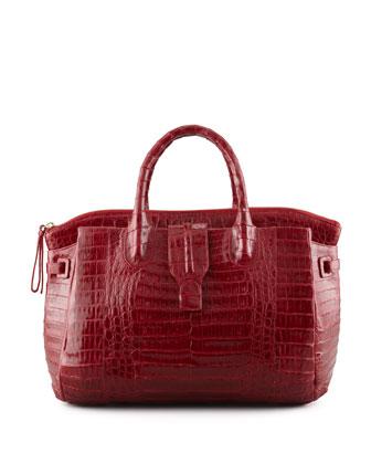 Large Crocodile Tote Bag, Dark Red (Made to Order)