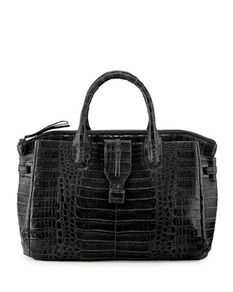 Large Crocodile Tote Bag, Black (Made to Order)