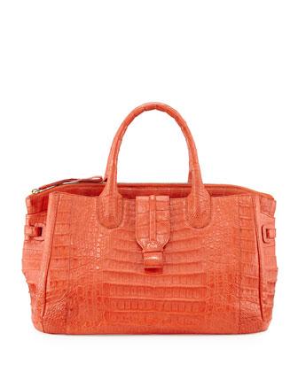 Large Crocodile Tote Bag, Orange (Made to Order)