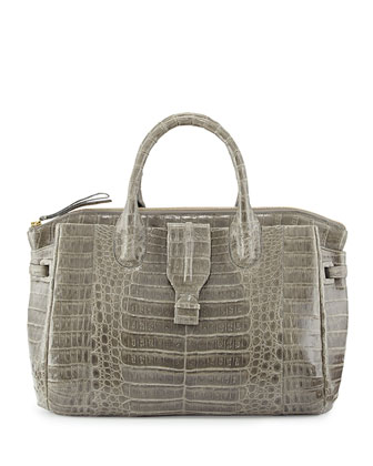 Large Crocodile Tote Bag, Gray (Made to Order)