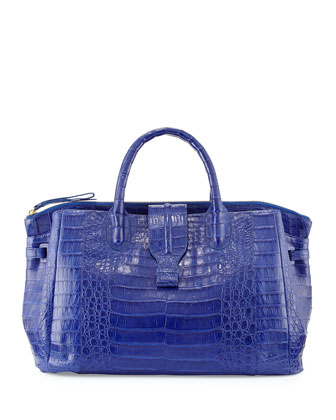 Large Crocodile Tote Bag, Cobalt Blue (Made to Order)