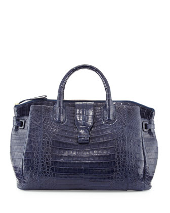Large Crocodile Tote Bag, Navy Blue (Made to Order)