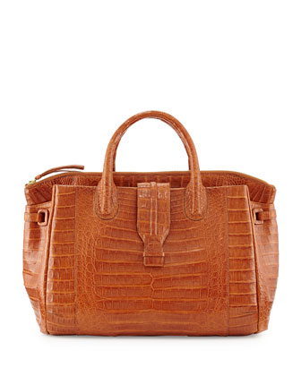 Large Crocodile Tote Bag, Cognac (Made to Order)