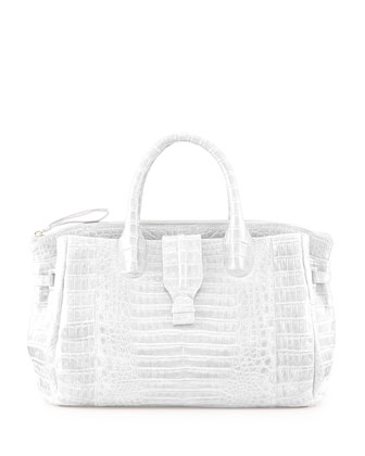 Large Crocodile Tote Bag, White (Made to Order)