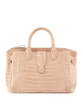 Large Crocodile Tote Bag, Nude