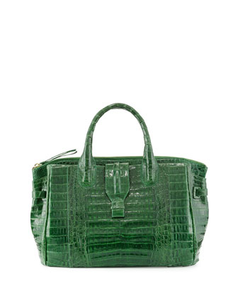 Medium Crocodile Tote Bag, Kelly Green