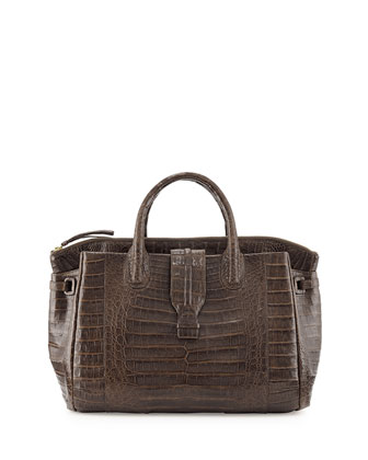 Medium Crocodile Tote Bag, Chocolate