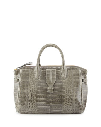 Medium Crocodile Tote Bag, Gray (Made to Order)