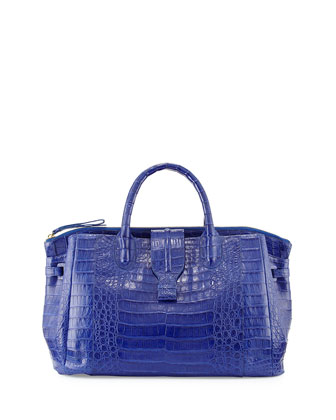 Medium Crocodile Tote Bag, Cobalt Blue