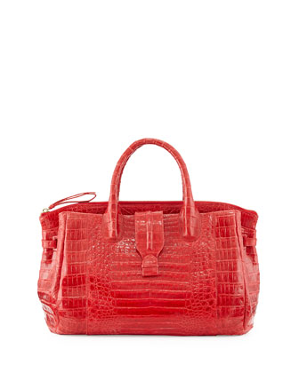 Medium Crocodile Tote Bag, Red (Made to Order)
