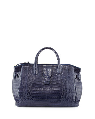 Medium Crocodile Tote Bag, Navy Blue (Made to Order)
