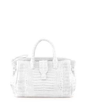 Medium Crocodile Tote Bag, White (Made to Order)