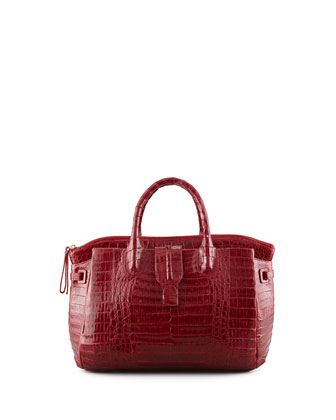 Small Crocodile Tote Bag, Dark Red (Made to Order)