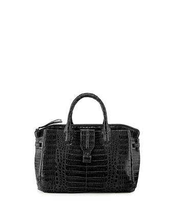 Small Crocodile Tote Bag, Black