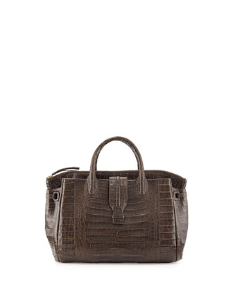 Small Crocodile Tote Bag, Chocolate