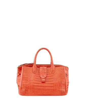 Small Crocodile Tote Bag, Orange (Made to Order)