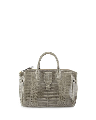 Small Crocodile Tote Bag, Gray (Made to Order)