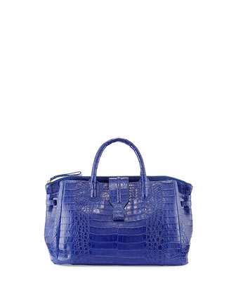 Small Crocodile Tote Bag, Cobalt Blue (Made to Order)
